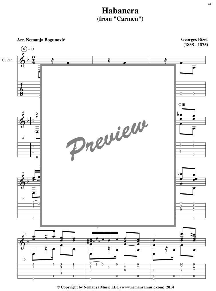 Sheet Music with TAB, Habanera (Bizet), (pdf download)