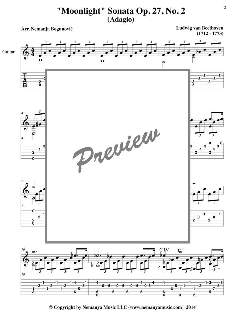 Sheet Music with TAB, Moonlight Sonata (Beethoven), (pdf